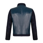 Side-Zip Leather Jacket // Navy (2XL)