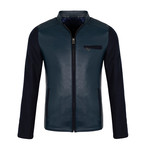 Fitted Leather Jacket // Navy (S)