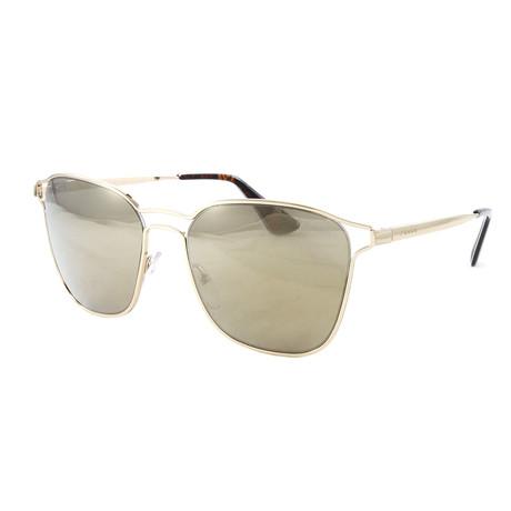 Women's PR54TS Sunglasses // Light Brown + Mirror Gold