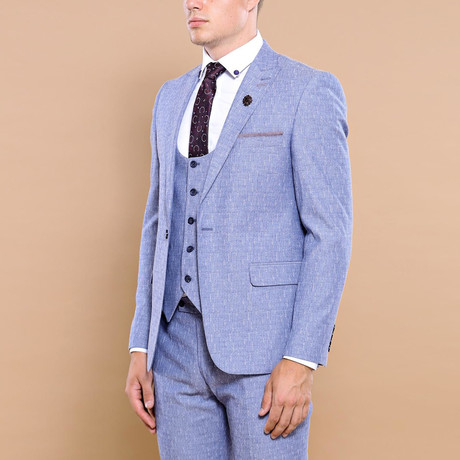 Stefano 3-Piece Slim Fit Suit // Light Blue (Euro: 42)