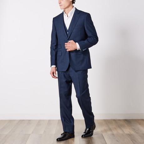 Via Roma // Classic Fit 3 Piece Suit // Blue Check (US: 36S)
