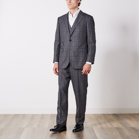Paolo Lercara // 3 Piece Suit // Gray Check (US: 36S)