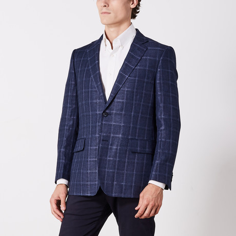 Via Roma // Classic Fit Sport Jacket // Blue Linen Check (US: 36S)
