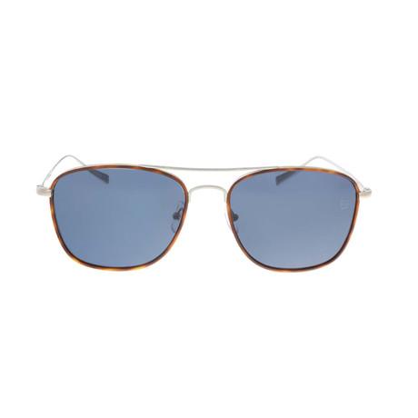 Zegna // Men's Classic Navigator Sunglasses // Havana + Silver Gray