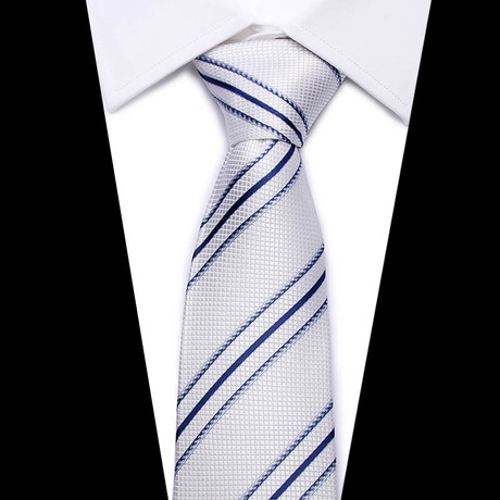 Neck Tie // White + Blue Stripe