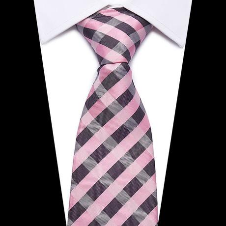 Neck Tie // Pink + Brown Cross Stripe