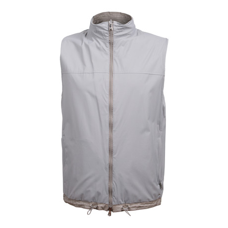 Two Tone Reversible Leather Vest // Gray (XS)
