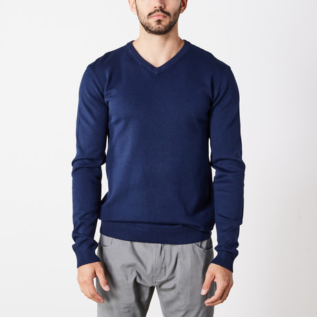 Slim V-Neck Sweater // Navy (S)