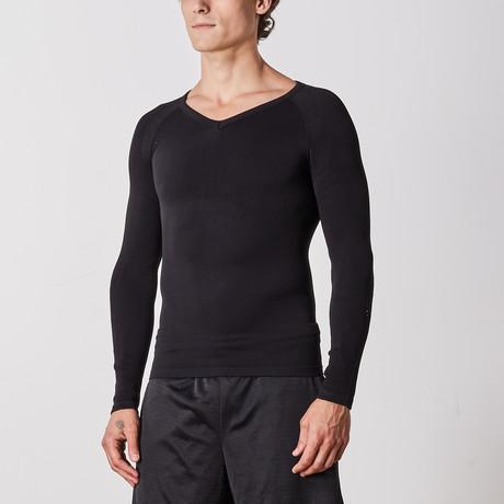 Men's Compression Long Sleeve Shirt // Black (Small)
