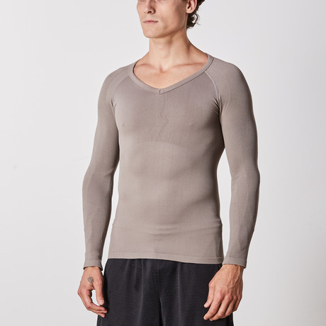 Men's Compression Long Sleeve Shirt // Gray (Small)