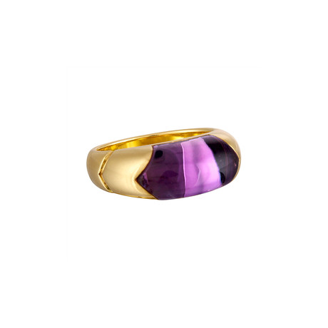 Vintage Bulgari 18k Yellow Gold Tronchetto Amethyst Ring // Ring Size: 5