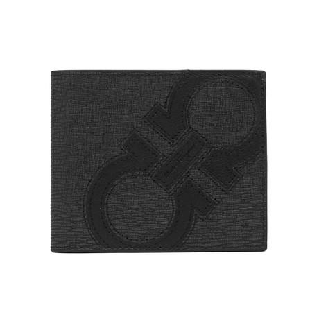 Salvatore Ferragamo // Hammered Leather Bifold Wallet Faded // Black