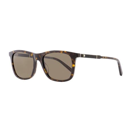 Montblanc // Men's Square Sunglasses // Dark Havana + Brown