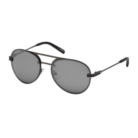 Montblanc // Men's Aviator Sunglasses // Matte Anthracite + Mirrored Smoke