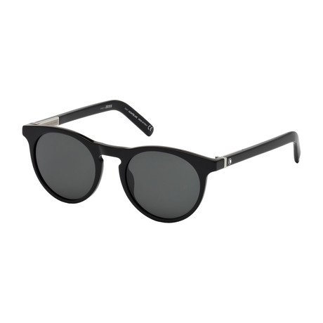 Montblanc // Men's Round Sunglasses // Shiny Black + Smoke