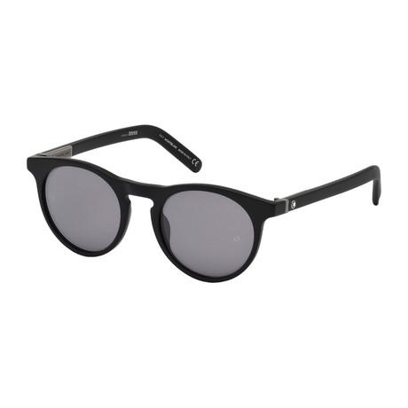 Montblanc // Men's Round Sunglasses // Matte Black + Mirrored Smoke