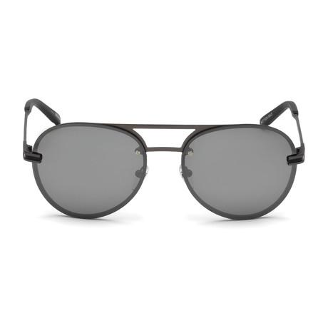 Montblanc Men's Aviator Sunglasses // Matte Anthracite+ Mirrored Smoke