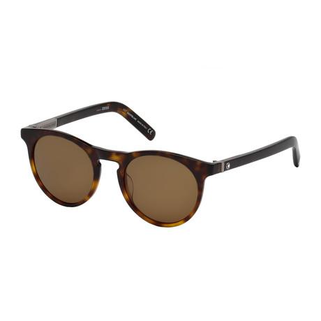 Montblanc // Men's Polarized Round Sunglasses // Havana + Roviex