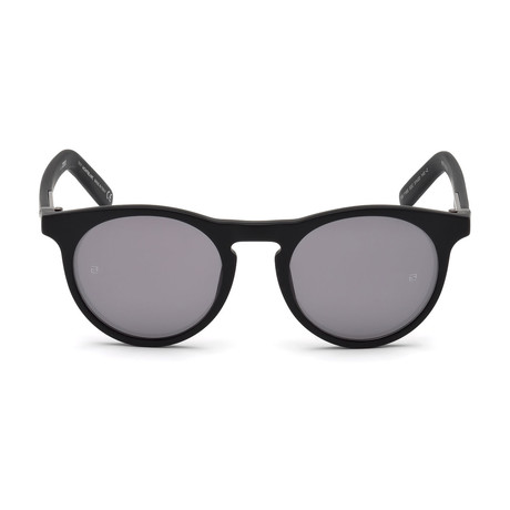 Montblanc Men's Round Sunglasses // Matte Black+ Mirrored Smoke