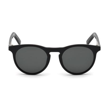 Montblanc Men's Round Sunglasses // Shiny Black+ Smoke