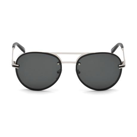 Montblanc Men's Aviator Sunglasses // Shiny Ruthenium+ Smoke