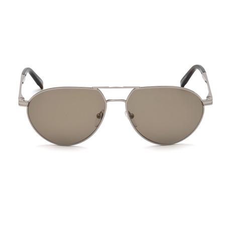 Montblanc Men's Aviator Sunglasses // Shiny Light Ruthenium+ Brown