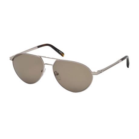 Montblanc // Men's Aviator Sunglasses // Shiny Light Ruthenium + Brown