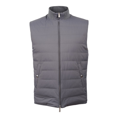 Reversible Puffer Vest // Gray + Beige (XS)