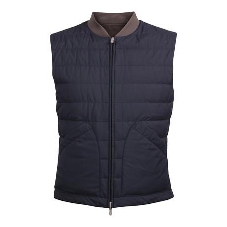 Reversible Puffer Vest // Brown + Navy (XS)