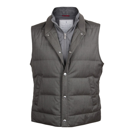 Two Tone Double Layer Puffer Vest // Gray (XS)