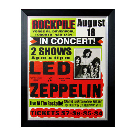 Led Zeppelin August 1969 Toronto Rockpile Concert Site Poster // Custom Framed