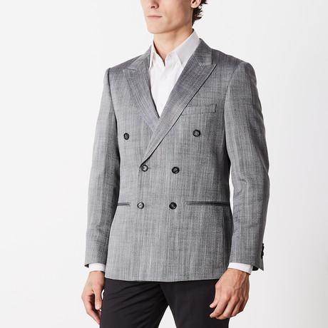 Wool + Silk Herringbone Slim Fit Sport Jacket // Black + White (US: 38R)