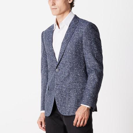 Textured Slim Fit Sport Jacket // Blue + White (US: 40R)