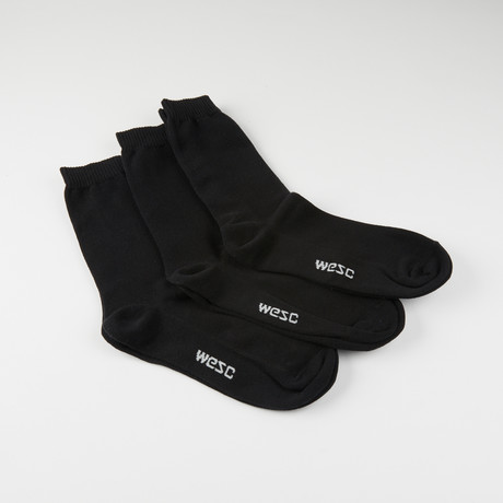 Kennedy Basic Crew Socks // Black // 3-Pack (S-M)