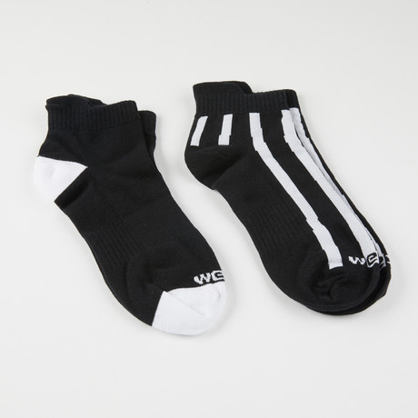 Clay Uneven Stripe Quarter Crew Socks // Black // 2-Pack (S-M)
