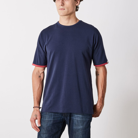 Madison Batwing Short Sleeve Lounge Shirt // Navy Blazer (S)