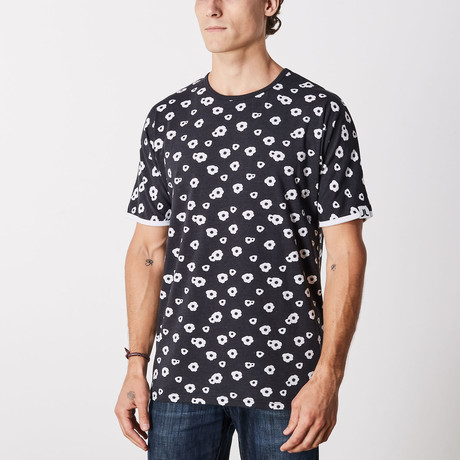 Madison Big Poppy Batwing Short Sleeve Lounge Shirt // Black (S)