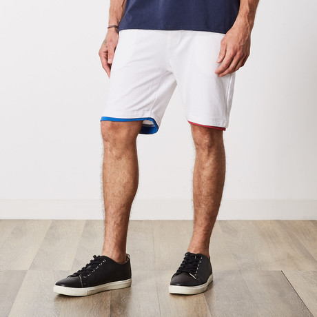 Ashton Color Block Lounge Shorts // White (S)
