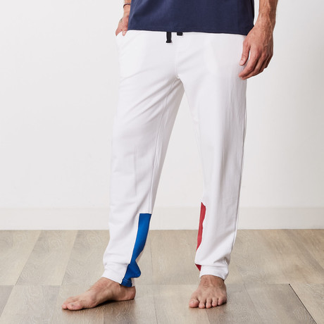 Ashton Color Block Lounge Jogger // White (S)