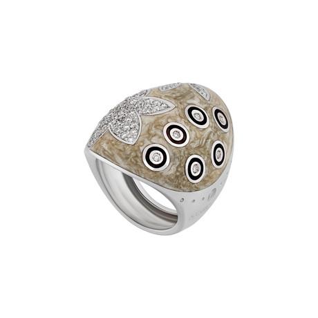 Nouvelle Bague India Preziosa 18k White Gold Diamond + Tan Enamel Ring // Ring Size: 6.75