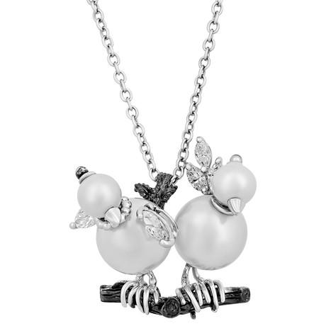 Stefan Hafner 18k Two-Tone Gold Diamond + Pearl Necklace