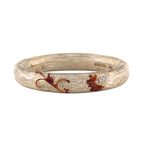 Nouvelle Bague Foglie d'Acanto 18k Rose Gold Diamond + Enamel Bangle Bracelet