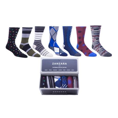 Sock Box // Blue + Gray + White // Set of 7