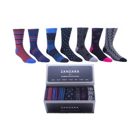 Sock Box // Black + Red + Blue // Set of 7