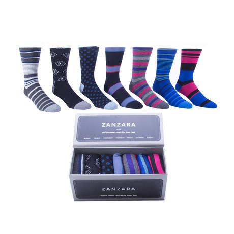 Sock Box // Black + Blue + Pink // Set of 7