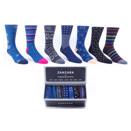 Sock Box // Black + Blue + Gray // Set of 7