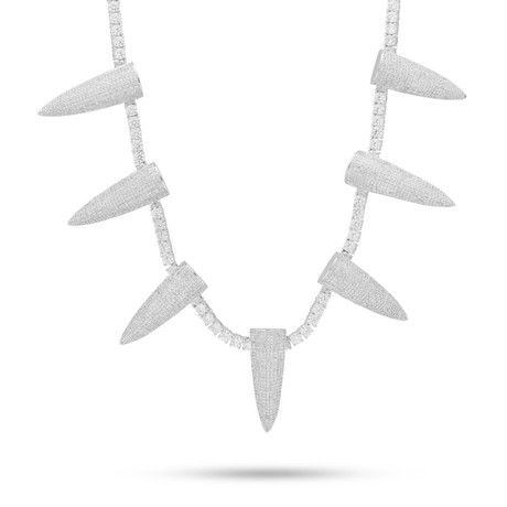 Multi-Saber Tooth Statement Necklace // 14K White Gold Plated