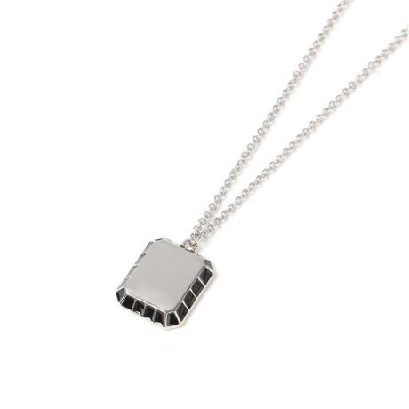 Minimalist Black Pendant Necklace // 14K Gold Plating + Stainless Steel