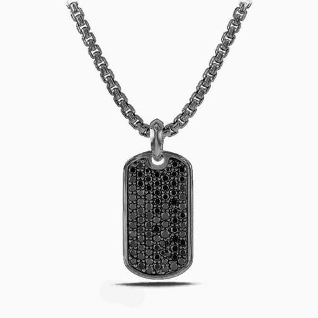 Designer Inspired Pendant Necklace // Black + Dark Tag