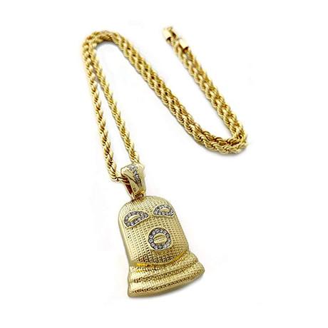 Aspen Ski Mask Pendant Necklace // 14K Gold Plated